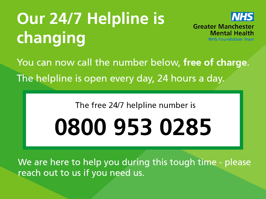 GMMH 24/7 Helpline new freephone number 0800 953 0285 | News and Events |  Greater Manchester Mental Health NHS FT