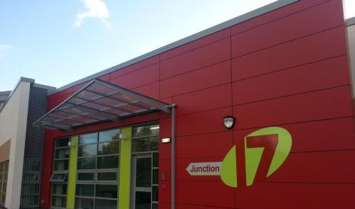 Picture of the front of the Junction 17 building from an external view.