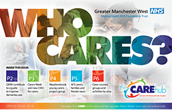 picture of the front cover of 'who cares', the newsletter for carers produced by GMW