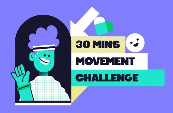 Image of a cartoon person taking part in the mental health foundation's 30 mins movement challenge