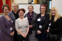 1.	On the picture, left to right, is Rachel Thompson from the Royal College of Nursing, Jackie Marsh and Janice McGrory from Salford Royal NHS Trust, Tracy Collard and Gill Drummond from Greater Manchester West Mental Health NHS Foundation Trust with MP Hazel Blears (front row centre).